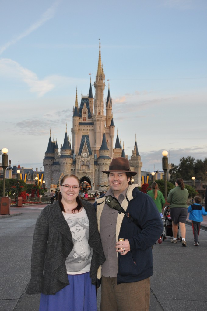 Standing in front of Cinderella's castle.
